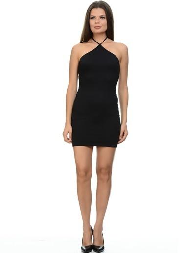 Motel Rocks Çapraz İp Askılı Dar Mini Elbise Siyah